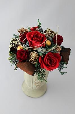 プリザーブドフラワー,クリスマス,バラ,レッド