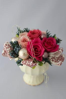 プリザーブドフラワー,クリスマス,バラ,ピンク