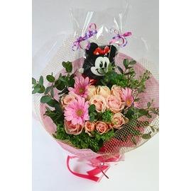 生花,花束,バラ,ピンク,ガーベラ,縫いぐるみ入り