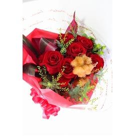 生花,花束,レッド,バラ